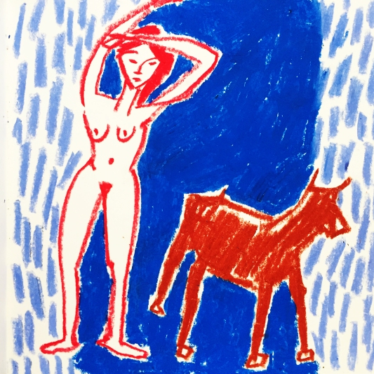 The Girl and the Wolf, 25x25cm, 2017 © Nina Deswarte